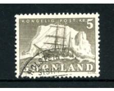 GROENLANDIA - 1950/60 - LOTTO/21961 - 5 Kr. GRIGIO VELIERO - USATO