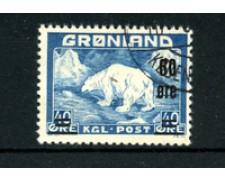 GROENLANDIA - 1956 - LOTTO/21962 - 60 su 40 o. AZZURRO ORSO POLARE - USATO