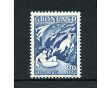GROENLANDIA - 1957 - LOTTO/21963 - 60 o. AZZURRO  LEGGENDE - NUOVO