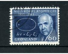 GROENLANDIA - 1963 - LOTTO/21969 - 60 o. AZZURRO N. BOHRS -  USATO