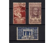 1922 - LOTTO/21987 - REGNO - CINQUANTENARIO DI G.MAZZINI 3v. USATI