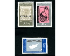 1980 - CIPRO TURCA - LOTTO/22143 - CENTENARIO FRANCOBOLLI 3v. - NUOVI