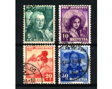 1938 - LOTTO/22271 - SVIZZERA - PRO JUVENTUTE 4v. - USATI