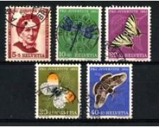 1951 - LOTTO/22288 - SVIZZERA - PRO JUVENTUTE 5v. - USATI