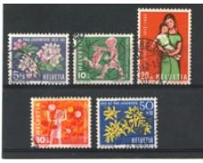 1962 - LOTTO/22296 - SVIZZERA - PRO JUVENTUTE 5v. - USATI