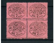 STATO PONTIFICIO - 1868 - LOTTO/22404 -  80 cent. ROSA CHIARO QUARTINA - NUOVI