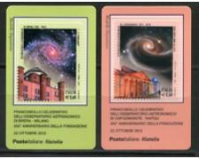 2012 - LOTTO/22811 - REPUBBLICA - OSSERVATORI ASTRONOMICI - 2 TESSERE FIL.