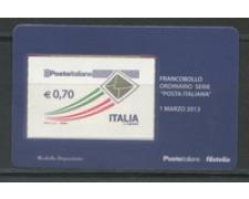 2013 - LOTTO/22830 - REPUBBLICA - 0,70 ORDIANARIO - TESSERA FILATELICA