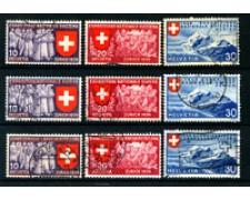 1939 - LOTTO/22837 - SVIZZERA - ESPOSIZIONE NAZIONALE 9v.- usati