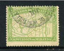 1896 - LOTTO/23026 - VENEZUELA - 5c. F. DE MIRANDA - USATO