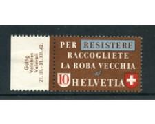 1942 - LOTTO/23118 - SVIZZERA - 10 CENT. PROPAGANDA MATERIE ITALIANO - NUOVO