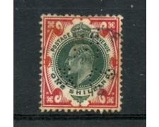 1902 - LOTTO/23156 - GRAN BRETAGNA - 1 SCELLINO  EDOARDO VII° USATO PERFIN