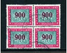 1984 - LOTTO/23186 - REPUBBLICA - 900 Lire SEGNATASSE QUARTINA USATA