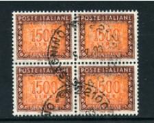 1991 - LOTTO/23187 - REPUBBLICA - 1500 Lire SEGNATASSE - QUARTINA USATI