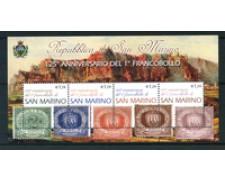 2002 - LOTTO/23311 - SAN MARINO - 125° ANNIVERSARIO DEI FRANCOBOLLI - FOGLIETTO NUOVO