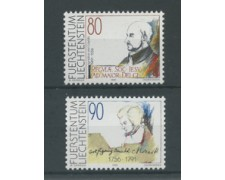 1991 - LOTTO/23371 - LIECHTENSTEIN - MOZART E LOYOLA 2v. - NUOVI