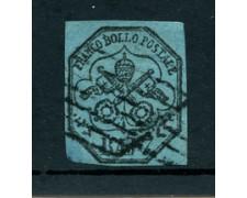 STATO PONTIFICIO - 1852 - LOTTO/23437 - 7 BAJ  NERO SU AZZURRO - USATO