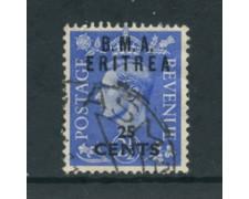 1948 - LOTTO/23657 - B.M.A. ERITREA - 25c. SU 2,5p. OLTREMARE - USATO