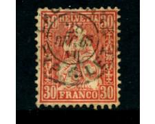 1862 - LOTTO/23691 - SVIZZERA - 30 cent. VERMIGLIO - USATO