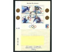 1981 - LOTTO/23883 - NORVEGIA - GIOCHI OLIMPICI INVERNALI - FOGLIETTO SU BUSTA VIAGGIATA