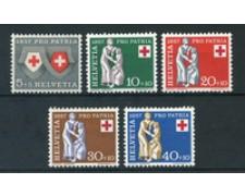 1957 - LOTTO/23952 - SVIZZERA - PRO PATRIA CROCE ROSSA 5v. - NUOVI