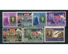 1947 - LOTTO/23953 - SAN MARINO - CENTENARIO DEL I° FRANCOBOLLO U.S.A. 7v. LING.