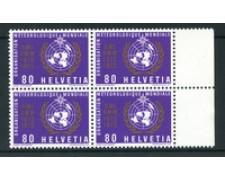 1973 - LOTTO/23977 - SVIZZERA - SERVIZIO - 80c. METEREOLOGIA - QUARTINA NUOVI