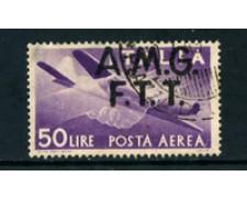 1947 - LOTTO/24000 - TRIESTE  A - POSTA AEREA 50 LIRE USATO - VARIETA'