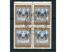 1965 - LOTTO/24044 - SVIZZERA - 30+10 c. PRO PATRIA - QUARTINA USATI