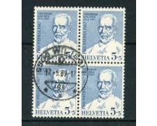 1967 - LOTTO/24045 - SVIZZERA - 5+5c. PRO PATRIA - QUARTINA USATI
