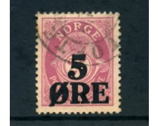 1922 - LOTTO/24049 - NORVEGIA - 5 SU 2,50  ORE SOPRASTAMPATO - USATO