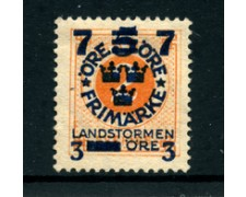 1918 - LOTTO/24063 - SVEZIA - SOPRASTAMPATO 7+3 SU 5 SU 2 o - NUOVO SG.