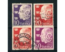 1947 - LOTTO/24075 - SVEZIA - 40 ANNI DI REGNO RE GUSTAVO  4V. - USATI