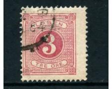 1874/82 - LOTTO/28084 - SVEZIA - SEGNATASSE 3o. ROSA - USATO