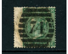 1865 - LOTTO/24269 - GRAN BRETAGNA - 1 SCELLINO VERDE  TAV. 4 - USATO