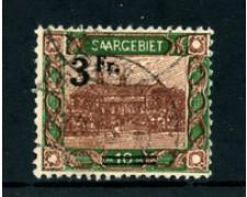 1921 - LOTTO/24290 - SARRE - 3 FR. SU 10 MARCHI VEDUTE - USATO