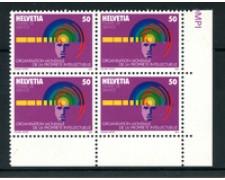 1985 - LOTTO/24548 - SVIZZERA - SERVIZIO - 50c. OMPI -  QUARTINA NUOVI