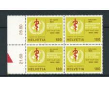 1995 - LOTTO/24550 - SVIZZERA - SERVIZIO - 1,80 Fr. OMS - QUARTINA NUOVI