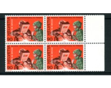 1988 - LOTTO/24552 - SVIZZERA - SERVIZIO - 90cent. UFFICIO DEL LAVORO - QUARTINA NUOVI