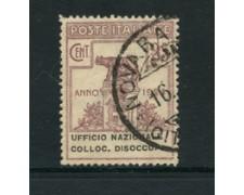 1924 - LOTTO/24597 - REGNO - PARASTATALI - 25c. UFF. NAZ. COLL. DISOCCUPATI - USATO