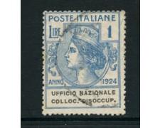 1924 - LOTTO/24598 - REGNO - PARASTATALI - 1 Lira . UFF. NAZ. COLL. DISOCCUPATI - USATO