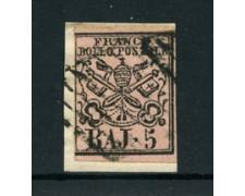 STATO PONTIFICIO - 1852 - LOTTO/24605 - 5 BAJ ROSA CHIARO - USATO SU FRAMMENTO