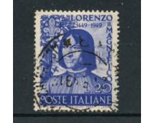 1949 - LOTTO/24701U - ITALIA REPUBBLICA - LORENXZO IL MAGNIFICO - USATO