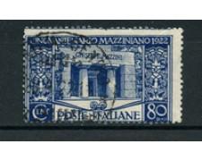1922 - LOTTO/24704 - ITALIA REGNO - 80 cent. GIUSEPPE MAZZINI - USATO