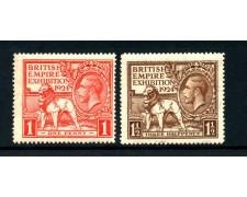 1924 - GRAN BRETAGNA - ESPOSIZIONE DELL'IMPERO A WEMBLEY 2v. - NUOVI - LOTTO/25000