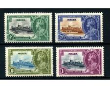 1935 - MALTA - GIUBILEO INCORONAZIONE RE GIORGIO V° 4v. NUOVI