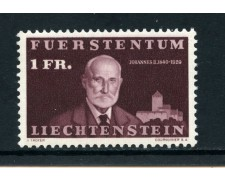 1940  LIECHTENSTEIN - 1 Fr. CENTENARIO NASCITA PRINCIPE GIOVANNI - NUOVO - LOTTO/25014