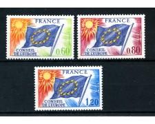 1975  FRANCIA - SERVIZIO - CONSIGLIO D'EUROPA 3v. NUOVI - LOTTO/25070