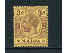 1914/1922 - MALTA - 3p. BRUNO LILLA GIORGIO V° - TRACCIA DI LINGUELLA - LOTTO/25090