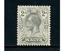 1921 - MALTA - 2p. GRIGIO  RE GIORGIO V° - TRACCIA DI LINGUELLA - LOTTO/25091